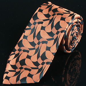Orange and Black Floral Woven Silk Tie