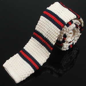 Knitted silk tie club stripe